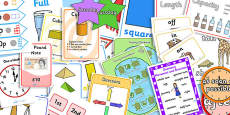 KS1 Maths Measurement and Geometry - Properties of Shape Display Pack Year 1