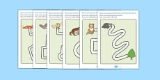 Nocturnal Animals Pencil Control Path Worksheets