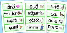On the Farm Word Cards Romanian