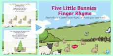 * NEW * Five Little Bunnies Song PowerPoint