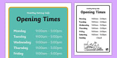 Healthy Eating Cafe Role Play Opening Times