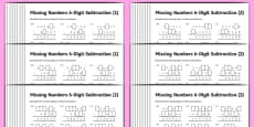 Subtraction 6-Digit Missing Numbers Differentiated Activity Sheet Pack