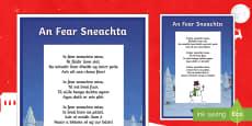 An Fear Sneachta, Dán Display Poster Gaeilge