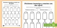 * NEW * Ficha de actividad: Colorear por divisiones inexactas y exactas con dos cifras - polos