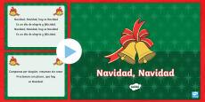 Jingle Bells Christmas Carol Lyrics PowerPoint - Spanish