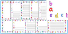 Lower-case Monster Alphabet Page Borders