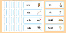 's' and 'h' Minimal Pair Word Cards