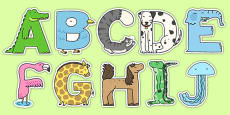 Animal Alphabet Display Letters