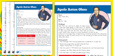 USA Olympians Fact Sheet and Comprehension Questions Apolo Ohno