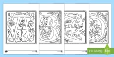 Illuminated Letters Colouring Pages