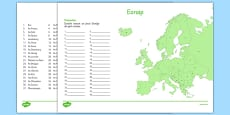 Irish Map of Europe Activity Sheet Gaeilge