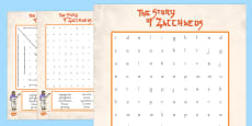 Zacchaeus the Tax Collector Bible Story Differentiated Word Search