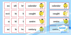 PlanIt English Additional Resources Y3/Y4 Statutory Spelling Word Cards