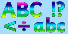 Rainbow Alphabet Display Lettering