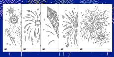 Fireworks Themed Mindfulness Colouring Sheets