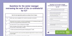 * NEW * Questions for Senior Manager in ICT from  ESTYN A4 Display Poster