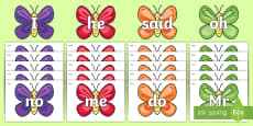 Foundation Stage 2 Keywords on Butterflies