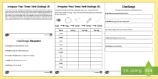 Year 2 Spelling Practice Irregular Past Tense Verb Endings (4) Go Respond Activity Sheet