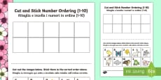 Spring Themed Cut and Stick Number Ordering Sheets 1 to 10 English/Italian