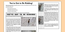 You've Got to Be Kidding Me! Newspaper Article Activity Sheet