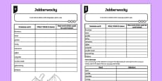 Jabberwocky: Looking at Language Activity Sheet