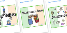 Ireland Themed Editable Square Classroom Area Signs (Plain)