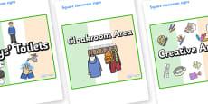 Ireland Themed Editable Square Classroom Area Signs (Plain)