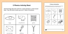 e Phonics Activity Sheet
