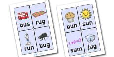 CVC Word Cards U Dyslexia