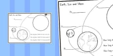 Earth, Sun and Moon Label and Question Colouring Sheet