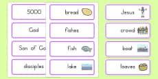 The Loaves and Fishes Word Cards