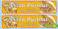 Pizza parlour role play banner English/French