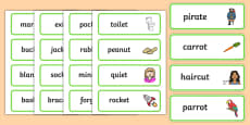 Two Syllable Final T Sound Word Cards
