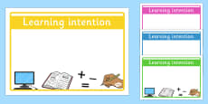 Editable 'Learning Intention' Display Signs
