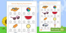 * NEW * Summer Words Beginning Sounds Activity Sheet
