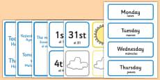 Weather Calendar Spanish Translation