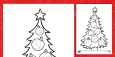 Christmas Tree Pencil Control Activity Sheet English/Romanian