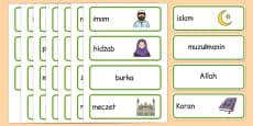 Islam Word Cards Polish