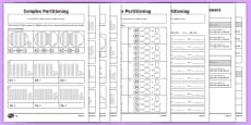 Complex Partitioning of 2-Digit Numbers Differentiated Activity Sheet Pack