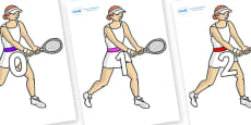 Numbers 0-100 on Tennis Players
