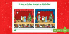 The Christmas Play Spot the Differences Activity Sheet Gaeilge
