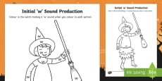 Initial 'w' Sound Production Colouring Sheet