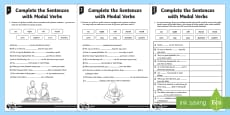 Complete the Sentences with Modal Verbs Differentiated Activity Sheet Pack