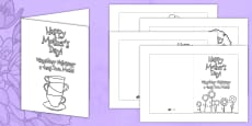 Mother's Day Card Templates Colouring Polish Translation