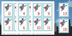 Superhero Numbers 0-20 Cards