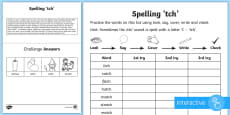 * NEW * Year 1 Spelling Practice /ch/ Sound Spelt 'tch' Go Respond Activity Sheet