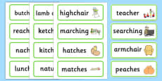 Medial ch Word Cards