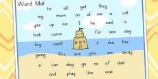 Australia - Seaside Themed Foundation Kindergarten Word Mat