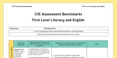 CfE Benchmarks First Level Literacy and English Assessment Tracker