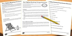 Sun Safety Reading Comprehension Activity